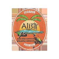 Alisa SUNRISE bring taste to your life PREMIUM  www.alisa-sunrise.ec info@alisa-sunrise.ec  25,3 x 29,9 mm paper 2014 M Ecuador unique