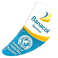 Banacol Bananas PLU 4011 RAINFOREST ALLIANCE CERTIFIED Product of Costa Rica  21,8 x 44 mm paper before 2012 Colombia unique