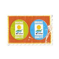 ORIGINE QUALITE GUADELOUPE MARTINIQUE   29,7 x 20 mm paper before 2012 France unique