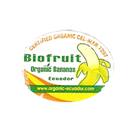 Biofruit Organic Bananas CERTIFIED ORGANIC CEL-MAR 7297 www.organic-ecuador.com  27,3 x 20,5 mm paper before 2012 Ecuador unique