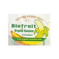 Biofruit Organic Bananas CERTIFIED ORGANIC 94011 www.organic-ecuador.com  27,4 x 20,4 mm paper before 2012 NB Ecuador unique