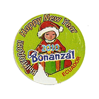 Bonanza! Happy New Year 2010 СНовымгодом!  28,3 x 28 mm paper before 2012 AA Ecuador unique
