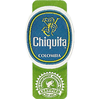 Chiquita  RAINFOREST ALLIANCE CERTIFIED EST. 1987  22,1 x 44,2 mm paper before 2012 Colombia unique