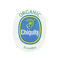 Chiquita  ORGANIC  22 x 28 mm paper before 2012 Ecuador unique