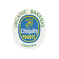 Chiquita  ORGANIC BANANAS #94011  21,9 x 26,8 mm paper before 2012 Colombia unique