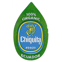 Chiquita  100% ORGANIC #94011  22 x 36,8 mm paper before 2012 TL Ecuador unique