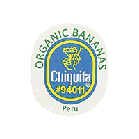Chiquita  ORGANIC BANANAS #94011  21,8 x 26,1 mm paper before 2012 Peru unique