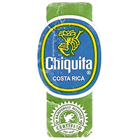 Chiquita  RAINFOREST ALLIANCE CERTIFIED EST. 1987  21,8 x 44,5 mm paper before 2012 Costa Rica unique