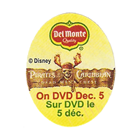 Del Monte  Pirates Caribbean Disney  On DVD Dec. 5  25 x 31,9 mm paper before 2012 AA unique
