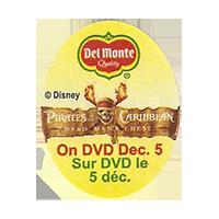 Del Monte  Pirates Caribbean Disney  On DVD Dec. 5  25 x 31,9 mm paper before 2012 AA unique