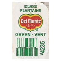 Del Monte Quality PLANTAINS GREEN VERT #4235  0 x 0 mm paper 2017  Ecuador unique