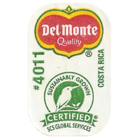 Del Monte Quality SUSTAINABLY GROWN CERTIFIED SCS GLOBAL SERVICES # 4011  0 x 0 mm paper 2017 ML Costa Rica unique