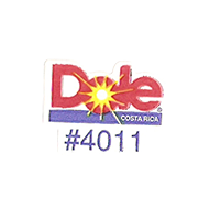 Dole #4011  21,6 x 17,1 mm paper before 2012 Costa Rica unique