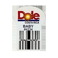 Dole  BABY #4234  22,2 x 30,1 mm paper before 2012 Costa Rica unique