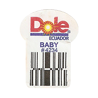 Dole  BABY # 4234   22,2 x 29,8 mm paper 2016 PM Ecuador unique