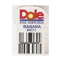Dole BANANA 0102 #4011  0 x 0 mm paper 2017  Costa Rica unique