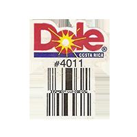 Dole  #4011  22,2 x 28,6 mm paper before 2012  Costa Rica unique
