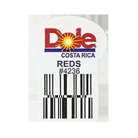 Dole REDS #4236  22,2 x 30,1 mm paper before 2012 Costa Rica unique