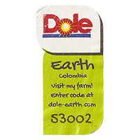 Dole Earth Visit my farm! enter the code at dole-earth.com 53002  22 x 43 mm paper 2012 M Colombia unique
