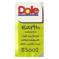 Dole Earth Visit my farm! enter the code at dole-earth.com 53002  22 x 43 mm paper 2012 M Colombia unique