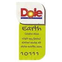 Dole Earth Visit my farm! enter the code at dole-earth.com 10111  22 x 43 mm paper 2012 M Costa Rica unique