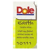 Dole Earth Visit my farm! enter the code at dole-earth.com 10111  22 x 43 mm paper 2012 M Costa Rica unique