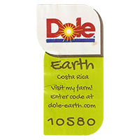 Dole Earth Visit my farm! enter the code at dole-earth.com 10580  22 x 43 mm paper 2012 NB Costa Rica unique