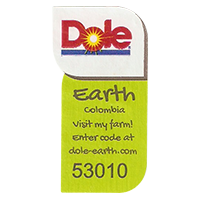 Dole Earth Visit my farm! enter the code at dole-earth.com 53010  22 x 43 mm paper 2012 NB Colombia unique