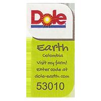 Dole Earth Visit my farm! enter the code at dole-earth.com 53010  22 x 43 mm paper 2012 NB Colombia unique