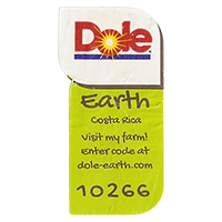 Dole Earth Visit my farm! enter the code at dole-earth.com 10266  22 x 43 mm paper 2012 M Costa Rica unique