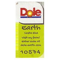 Dole Earth Visit my farm! enter the code at dole-earth.com 10574  22 x 43 mm paper 2012 M CoCosta Rica unique
