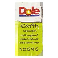Dole Earth Visit my farm! enter the code at dole-earth.com 10595  22 x 42,9 mm paper 2012 M Costa Rica unique