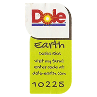 Dole Earth Visit my farm! enter the code at dole-earth.com 10225  22 x 43 mm paper 2012 M Costa Rica unique