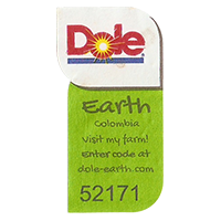 Dole Earth Visit my farm! enter the code at dole-earth.com 52171  22 x 43 mm paper 2012 NB Colombia unique