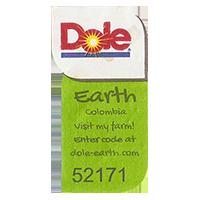 Dole Earth Visit my farm! enter the code at dole-earth.com 52171  22 x 43 mm paper 2012 NB Colombia unique