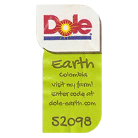 Dole Earth Visit my farm! enter the code at dole-earth.com 52098  22 x 43 mm paper 2012 NB Colombia unique