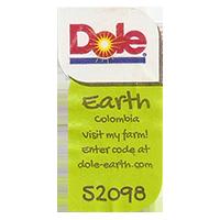 Dole Earth Visit my farm! enter the code at dole-earth.com 52098  22 x 43 mm paper 2012 NB Colombia unique