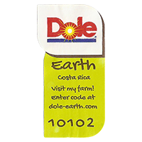 Dole Earth Visit my farm! enter the code at dole-earth.com 10102  22 x 43 mm paper 2013 NB Costa Rica unique