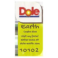 Dole Earth Visit my farm! enter the code at dole-earth.com 10102  22 x 43 mm paper 2013 NB Costa Rica unique