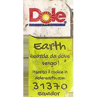 Dole Earth Guarda da dove vengo ! inserisci il codice in dole-earth.com 31370  21,8 x 43 mm paper 2015 J Ecuador unique