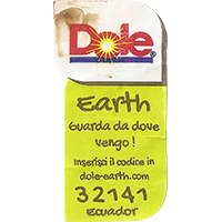 Dole Earth Guarda da dove vengo ! inserisci il codice in dole-earth.com 32141  21,8 x 43 mm paper 2015 J Ecuador unique