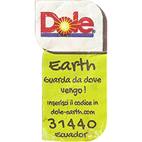 Dole Earth Guarda da dove vengo ! inserisci il codice in dole-earth.com 31440  21,8 x 43 mm paper 2015 AR Ecuador unique