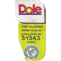 Dole Visit my farm! Enter code at www.dole.eu 31343 RAINFOREST ALLIANCE CERTIFIED  22,1 x 43,1 mm paper 2016 KK Ecuador unique