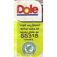 Dole Visit my farm! Enter code at www.dole.eu 55318 RAINFOREST ALLIANCE CERTIFIED  22,3 x 42,8 mm paper 2017 J Colombia unique