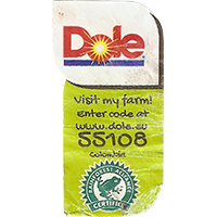 Dole Visit my farm! Enter code at www.dole.eu 55108 RAINFOREST ALLIANCE CERTIFIED  22,3 x 42,8 mm paper 2017 J Colombia unique