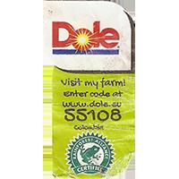Dole Visit my farm! Enter code at www.dole.eu 55108 RAINFOREST ALLIANCE CERTIFIED  22,3 x 42,8 mm paper 2017 J Colombia unique