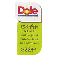 Dole Earth Visit my farm! enter the code at dole-earth.com 52271  22 x 42,9 mm paper 2012 M Colombia unique