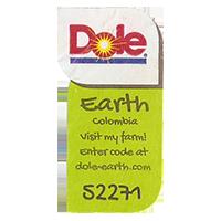 Dole Earth Visit my farm! enter the code at dole-earth.com 52271  22 x 42,9 mm paper 2012 M Colombia unique