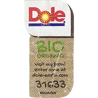 Dole BIO ORGANIC Visit my farm! Enter code at dole-earth.com 31633  21,9 x 43,1 mm paper 2016 J Ecuador unique