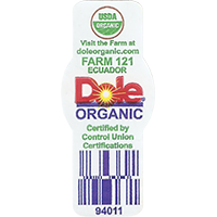 Dole ORGANIC USDA ORGANIC 94011  Visit the Farm at doleorganic.com FARM 121 Certified by Control Union Certifications  21,5 x 48,9 mm paper 2016 PM Ecuador unique